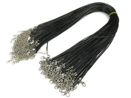 Wholesale Metal Necklace Cord - 200pcs lot hot sale Black Wax rope necklace lanyard Men's Lady Pendant Rope 2mm metal necklace rope accessories With lobster extension line