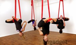 Wholesale Deluxe Swing - 1set Omitree Deluxe 5.5 Yards Elastic Decompression Inversion Therapy Anti-Gravity Yoga Swing Aerial Yoga Hammock Flying Yoga Strap 2000 Lbs