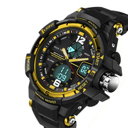 Wholesale Double Chronograph Watch Men - Multifunction Climbing Sports Watch Men Waterproof Military Watches Mens women Led Digital Watch Shockproof Double Significant Wrist watches