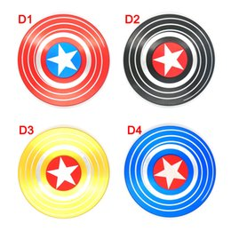 Wholesale Wholesalers America - Fidget Spinners Captain America Hand Spinner Zinc Alloy spinning top EDC Autism ADHD Finger Gyro Toy Adult Gifts spin 4minute in metal tin