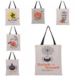 Wholesale Pumpkin Food - Halloween Sacks Candy Gifts Bag Handbag Reusable Canvas Tote Bag Cartoon Storage Tote Pumpkin Spider Print Shoulder Bag 36*46cm WX-B14