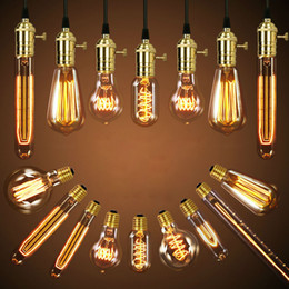 Wholesale E27 Bulb Edison - 40W Retro Lamp Edison Bulb ST64 Vintage Socket DIY Rope Pendant E27 Incandescent Bulb 220V 110V Holiday Lights Filament Lamp Lampada