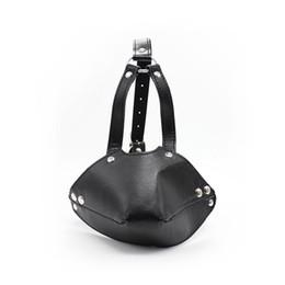 Wholesale Muzzle Coupling - Leather Full Head Harness Mask Gag Muzzle BDSM Bondage Detachable Silicone Ball Gags Sex Toys For Couple