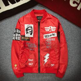 Wholesale Roll Coat - Winter men hip hop street Graffiti rock and roll baseball Coats MA1 pilot flight jackets Bomber men and women couple pablo jacket
