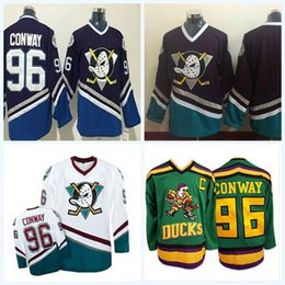 Argentina Anaheim 96 Charlie Conway Mighty Ducks Película Hockey Running Jerseys Baratos Blanco Verde Blanco 1993-94 Away Trikot Camisas Bueno green running shirt on sale Suministro