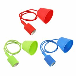 Wholesale Vintage Fluorescent Light - Colorful Silicone Pendant Lights E27 Holder Vintage Modern Fashion DIY Creative Silicone Rubber Pendant Lamps 100cm Cord Base Light Holder
