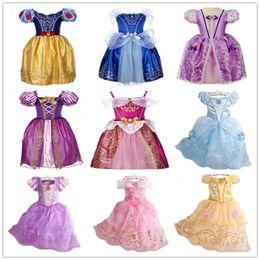 Wholesale Kids Dresses Order - 9Styles Girls Princess Dresses Snow White Cinderella Sophia Tangled Cartoon Cosplay Costumes Kids Christmas Party Dresses Support OEM Orders