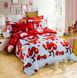 Wholesale Duvet 3d - Christmas 3D Bedding Sets 4pcs Santa Pattern Design Printed Comforter Sets Queen Size Duvet Cover Bed Sheet