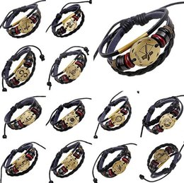 Wholesale First Engagement - Retro twelve constellations a set of hand-woven men and women couples first layer of leather FB100 mix order 20 pieces a lot Charm Bracelets