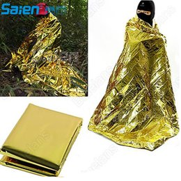 Wholesale Mylar Space Blanket Wholesale - Emergency Mylar Thermal Blanket Emergency Survival Rescue Blanket Foil Thermal Space First Aid Sliver Rescue Curtain Blanket