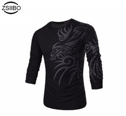 Wholesale Dragon Tattoo Shirts - Wholesale- ZSIIBO TX71 TX73 Fashion Brand 10 style long sleeve T Shirts for Men Novelty Dragon Printing Tattoo Male O-Neck T Shirts M-XXXL