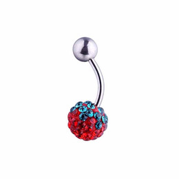 stainless steel packing NZ - 50pcs pack Belly button ring barbell belly ring crystal gem navel ring stainless steel navel piercing jewelry