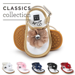 Wholesale summer sandals for baby girls - 6 colors Baby Girls flower thong sandal zoris pu soft sole toe-knob sandals infants summer cute fashion moccasins first walkers for A080