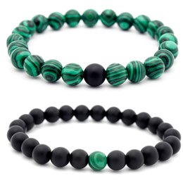 "Wholesale 6mm Round Gemstone Beads - 8mm Malachite Handmade Gem Semi Precious Gemstone 6mm Round Beads Stretch Lover Friend Bracelet 7 ""Unisex Christmas Gift B672S"