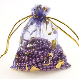 Wholesale Organza Wedding Favours - Wholesale- Free Shipping 100pcs lot 11x16cm Heart Purple color Organza Bags Wedding Favour Gift bag Jewellery pouches