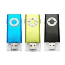 Wholesale Music Insert - Wholesale- New Mini Portable U disk Insert Card MP3 Music Player Supported 16G micro sd TF Card Mini clip sports MP3 Player+Headphones