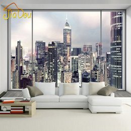 Wholesale Insulation Interior Walls - Wholesale- Custom Mural 3D Window City Landscape Wallpaper New York Sunrise Large Wall Mural Bedroom Interior Art Decor Photo Wallpaper
