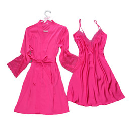 Wholesale Two Piece Lace Lingerie - Wholesale- mini length sexy women's robe set 2017 summer full-sleeve female sexy lace nightwear bathrobe & gown two pieces lingerie set