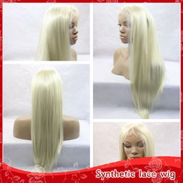 Wholesale Long Straight Silky Blonde Hair - Cheap Sexy Blonde 613# Silky Straight Long Wigs With Baby Hair Glueless Brazilian Synthetic Lace Front Wigs for Black Women Heat Resistant