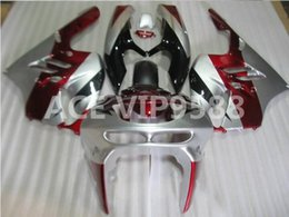 Wholesale Zx6r Silver Black - 3gifts Fairing Kit for KAWASAKI Ninja ZX6R 636 94 97 ZX 6R1994 1995 1996 1997 zx6r Compression mold Fairings Silver Black Red A6
