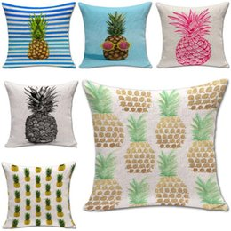 Wholesale Pineapple Cover - Colorful Fruit pineapple Pillow Case Cushion cover Linen Cotton Throw Pillowcases sofa Bed Pillow covers Drop shipping PW424