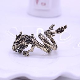Wholesale Dragon Gift Bags - 2017 Rings New Band Rings Gift Bags Vintage Punk Rock Gothic Dragon Men Ring.free shipping