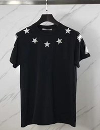 Wholesale Mens Polka Dots Shirt - 2017 new fashion summer t shirt men o-neck cotton Flocking pentagram 47 digital short sleeve mens t-shirt Men's Brand clothing