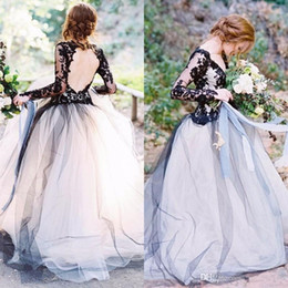 Wholesale navy blue romantic evening dress - 2017 Romantic Backless Sexy Evening Dresses V Neck Long Sleeves Lace Applique Tulle Floor Length Formal Evening Party Gowns Custom