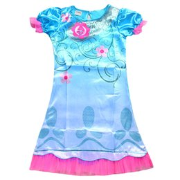 Wholesale Teenage Spring Dresses Wholesale - Trolls Clothes Girl Summer Carnival Costume Children infant Party Dress Good Luck Trolls Short Sleeve Girls Dresses Teenage Kids Clothing
