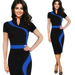 Wholesale New Release Dress - New Release Women Clothing Elegant OL Bodycon Dress Fashion Slim CONTRAST COLOR Elasticity One-piece Pencil Dress