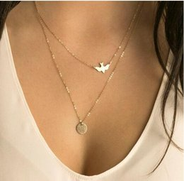 Wholesale Ladies Dive - Wholesale- xl103 2017 handmade jewelry summer simple wild lady double layer peace dove necklace clavicle chain