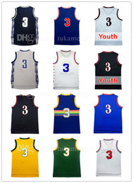 Wholesale Embroidery Basketball Jersey - Men's 3 Allen Iverson Basketball Jersey Adult Throwback Mesh Embroidery Iverson University Sportswear Jerseys Youth Kid's Georgetown Retro