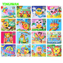 Wholesale Eva 3d Foam Stickers - 20 Designs lot 13*17cm 3D Eva Foam Craft Sticker Self-adhesive Crafts Learning Education Toys for Kids 3-6 years Series HF