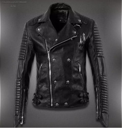 Wholesale Genuine Leather Man Jacket Biker - 2017 New Men High Quality PU Leather Jacket Coat Black Fashion skull Motorcycle Biker Male
