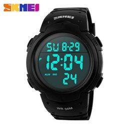 Wholesale Electronic Sport Stopwatch - W0015 Skmei electronic watch men sports LED watch 50m waterproof Stopwatch noctilucence Alarm clock watch