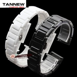 Wholesale Watch Band 18mm White - Wholesale-14mm 16mm 18mm 20mm High quality Silver Depolyment Watch Buckle and White Ceramics Watch Bands Bracelets Common