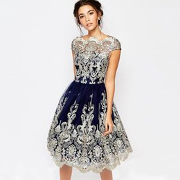 Wholesale Office Gowns - fashion 2017 ukraine women summer dress vintage style plus size dress O neck high waist embroidery office party dresses