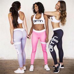 Wholesale Black Sequin Leggings L - Women's Sports Suits Yoga Sets Sports Bra Leggings Slim Sportswear Running Jogging Woman Fitness Gym Stretch Sport Suit Clothing 170724