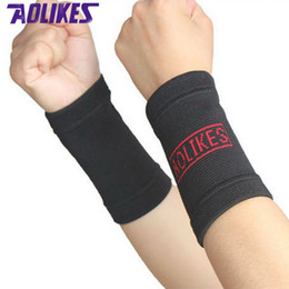 Wholesale Wrist Support For Basketball - Wholesale- AOLIKES 2 Pairs Nylon Elastic Sports Wrist Brace Support Wristbands Sweatbands For Volleyball Basketball Tennis Gym Sweat Bands