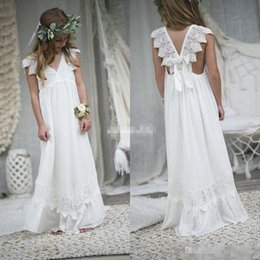Wholesale Cheap Wedding Dresses For Children - 2017 New Arrival Boho Flower Girl Dresses For Weddings Cheap V Neck Chiffon Lace Child Communion Formal Beach Wedding Dress Custom Made