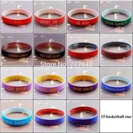 Wholesale Silicone Rubber Wristband Cuff Bracelet - Wholesale- 150pcs Basketball star wristband silicone bracelets rubber cuff wrist bands free shipping
