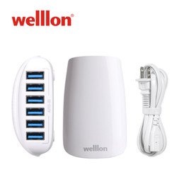 Wholesale Iphone Portable Docking Station - Welllon Phone Charger 27W 5.4A Dodge 6-Port USB Car Charging Station Multi-Port USB Laptop Battery Charger Portable Wireless for iPhone