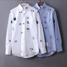 Wholesale Tb Brand - 2017 Luxury New Brand Male Mens Stylish Shirts Long Sleeve Causal Cotton Slim Fit Button Dress Clothes Man Shirts TB Embroidery ShirtS