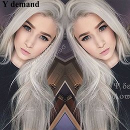 Wholesale Ash Blonde Lace Wig - Long hair Silver Platinum Blonde Lace Front Lace Wigs Synthetic Ash Blonde Straight Heat Resistant Fiber Wigs Middle Parting Wig