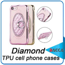 Wholesale Diamond Mobile Phone Stand - Luxury Rope Diamond TPU cell phone cases For iPhone 6 6S 6plus iphone7 case For iPhone 7 Mobile Phone Ring Coque Stand Holder