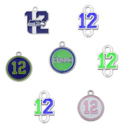 Wholesale Wholesale Pendants For Earrings - 7 Styles Enamel Football Seahawk Proud And Loud 12 Charms The Forever 12 Pendant Charms For DIY Necklace & Bracelet & Earring
