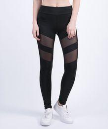 Wholesale Nylon Yoga Pants - pants Leggings 2017 Four Seasons sport yoga pants Women Leggings openwork perspective stitching sports fitness gym running sexy