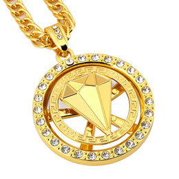 """Wholesale Pave Gold Diamond Charm - Gold Hip Hop Bling Jewelry Whirligig Spin Diamond Pendant Necklaces Paved Clear Rhinestone Fashion Crystal Charm Necklace 31"""""""