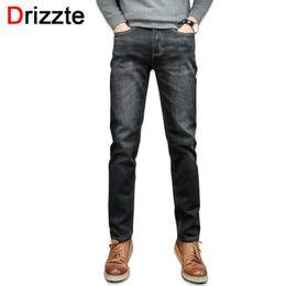 Wholesale Soft Mens Jeans - Wholesale- Drizzte Mens Jeans High Quality Soft Comfort Cotton Wash Black Stretch Denim Jeans Pants Trousers 28 35 36 38 40 42