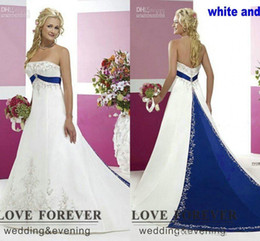 Wholesale White Blue Strapless Wedding Gown - 2017 Vintage Style Plus Size Wedding Dresses Silver Embroidery On Satin White and Royal Blue Floor Length Bridal Gowns Custom Made